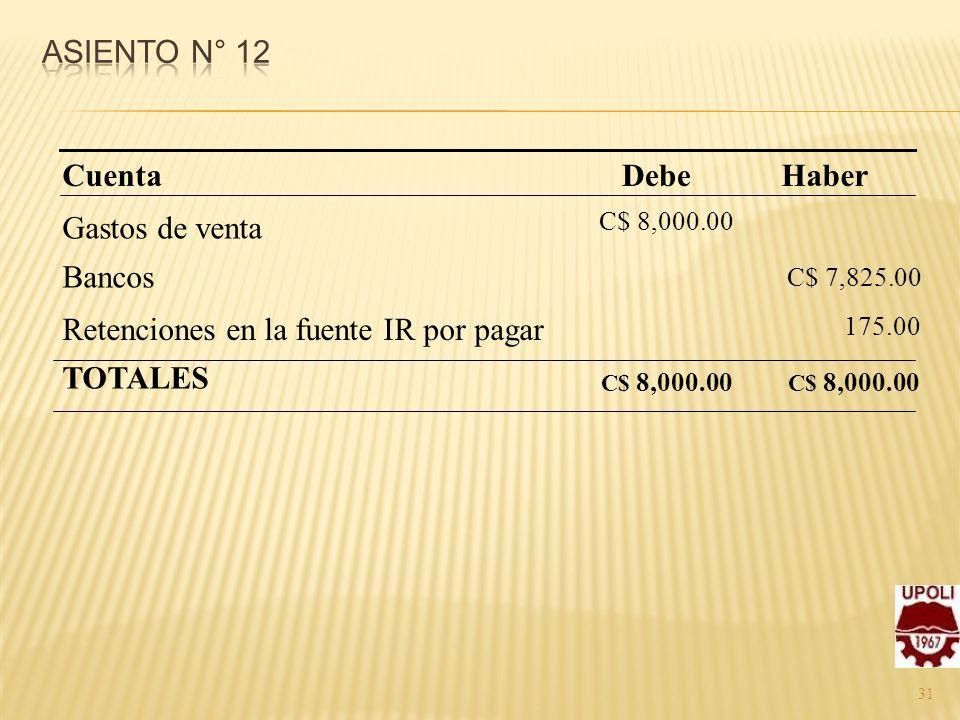 31 Gastos de venta Bancos Retenciones en la fuente IR por pagar TOTALES C$ 8,000.00 Haber C$ 7,825.00 175.00 C$ 8,000.00 DebeCuenta
