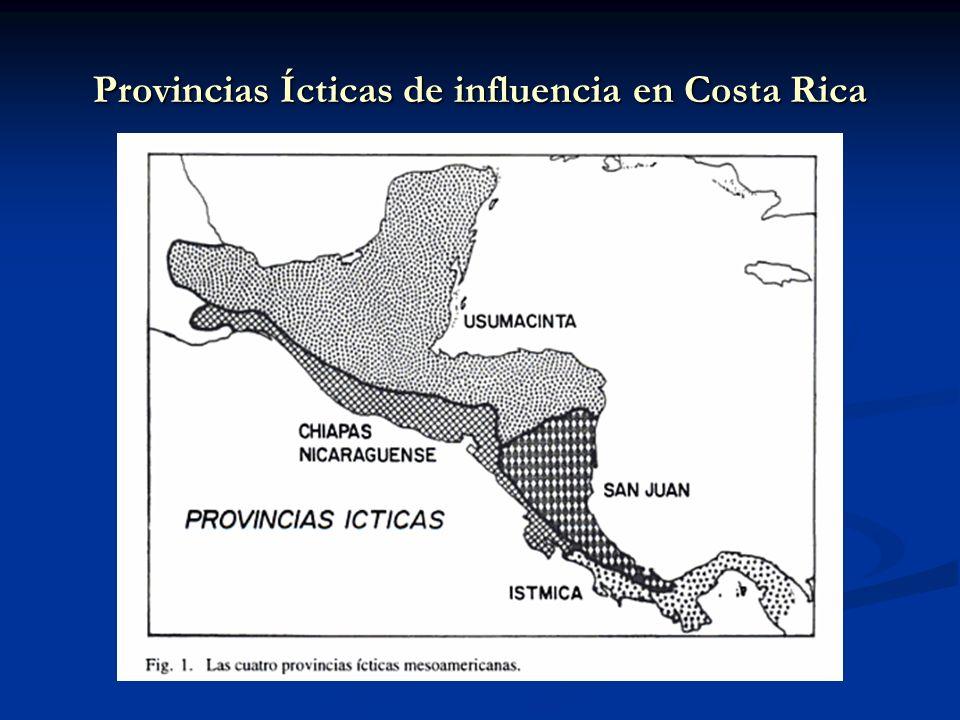 Provincias Ícticas de influencia en Costa Rica