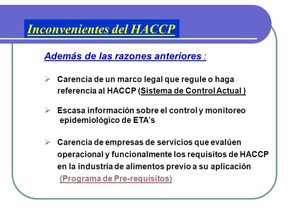 Inconvenientes para el éxito de HACCP (Países Subdesarrollados) Falta mano de obra calificada Altos costos de implementación Desconocimiento en su for