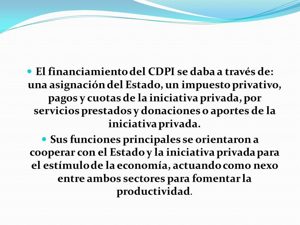 El financiamiento del CDPI se daba a través de: una asignación del Estado, un impuesto privativo, pagos y cuotas de la iniciativa privada, por servici