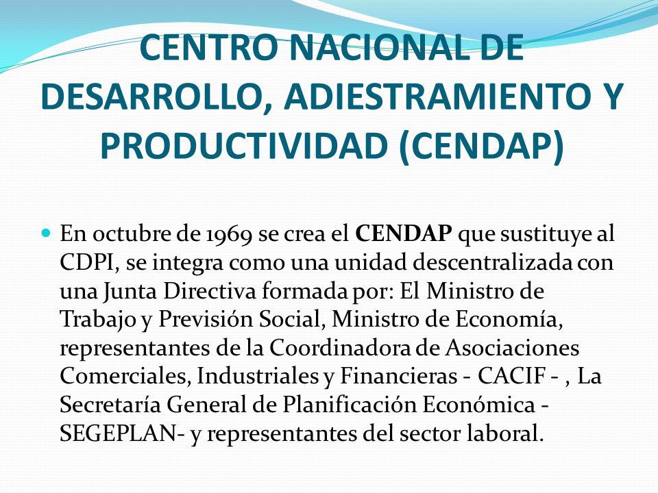 CENTRO NACIONAL DE DESARROLLO, ADIESTRAMIENTO Y PRODUCTIVIDAD (CENDAP) En octubre de 1969 se crea el CENDAP que sustituye al CDPI, se integra como una