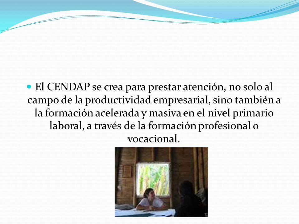 El CENDAP se crea para prestar atención, no solo al campo de la productividad empresarial, sino también a la formación acelerada y masiva en el nivel