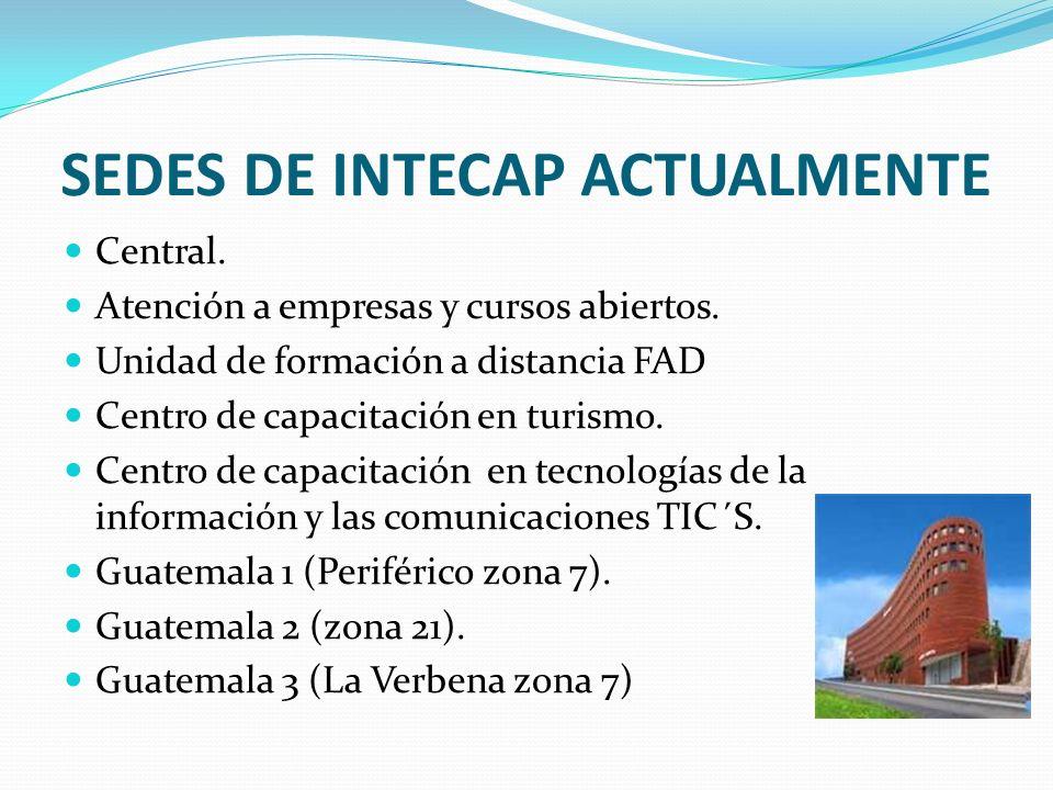 SEDES DE INTECAP ACTUALMENTE Central. Atención a empresas y cursos abiertos. Unidad de formación a distancia FAD Centro de capacitación en turismo. Ce