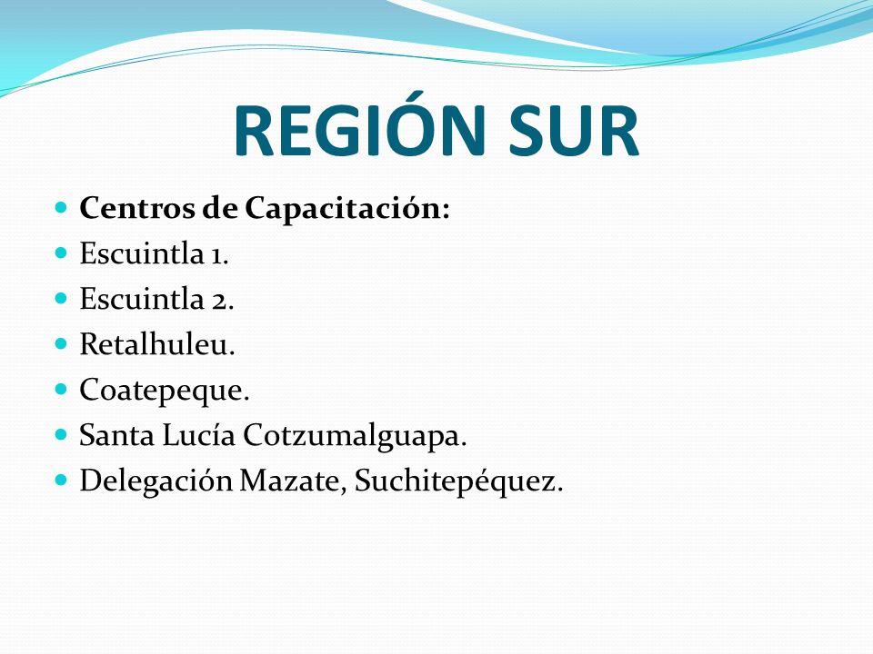 REGIÓN SUR Centros de Capacitación: Escuintla 1. Escuintla 2. Retalhuleu. Coatepeque. Santa Lucía Cotzumalguapa. Delegación Mazate, Suchitepéquez.