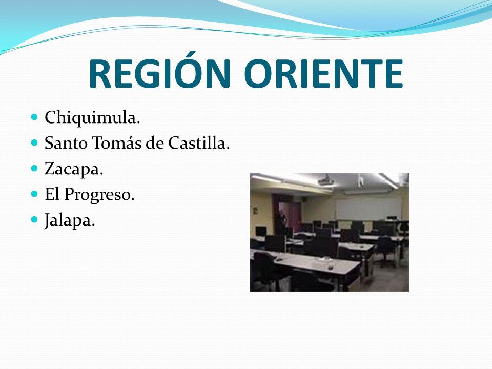 REGIÓN ORIENTE Chiquimula. Santo Tomás de Castilla. Zacapa. El Progreso. Jalapa.