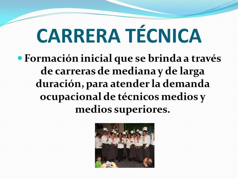 CARRERA TÉCNICA Formación inicial que se brinda a través de carreras de mediana y de larga duración, para atender la demanda ocupacional de técnicos m