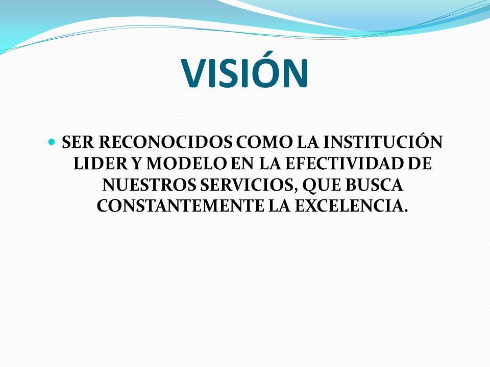 VISIÓN SER RECONOCIDOS COMO LA INSTITUCIÓN LIDER Y MODELO EN LA EFECTIVIDAD DE NUESTROS SERVICIOS, QUE BUSCA CONSTANTEMENTE LA EXCELENCIA.