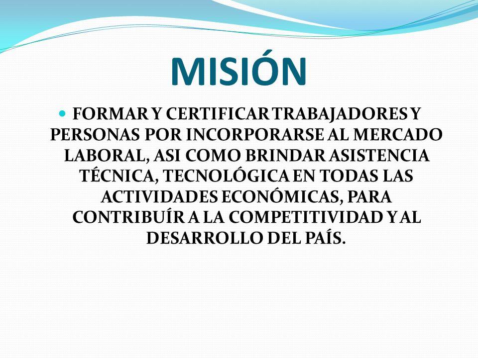 MISIÓN FORMAR Y CERTIFICAR TRABAJADORES Y PERSONAS POR INCORPORARSE AL MERCADO LABORAL, ASI COMO BRINDAR ASISTENCIA TÉCNICA, TECNOLÓGICA EN TODAS LAS