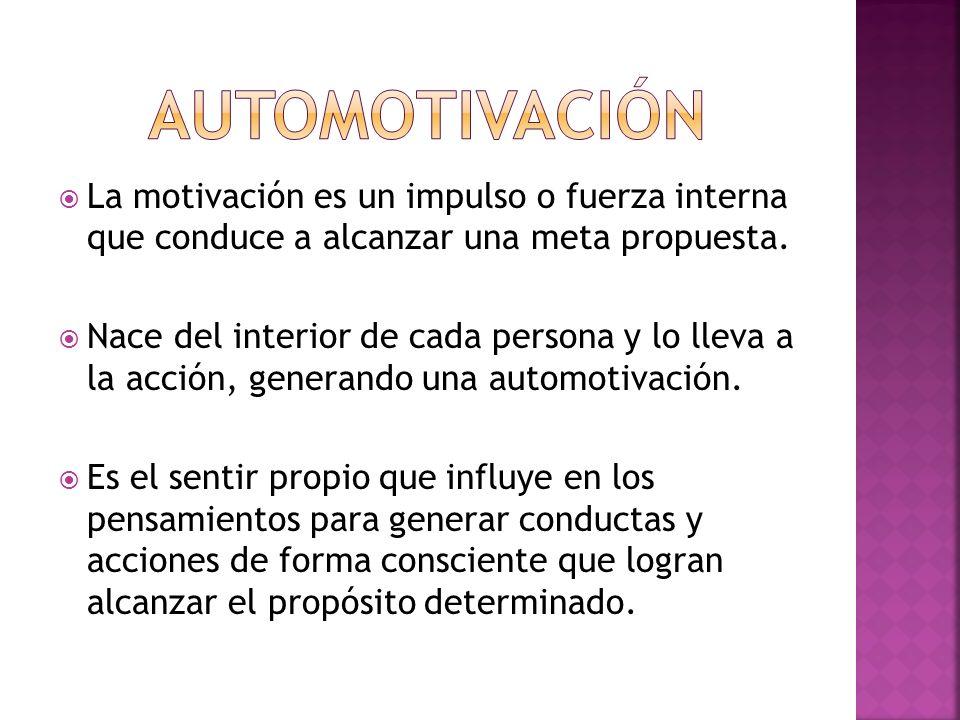 La motivación es un impulso o fuerza interna que conduce a alcanzar una meta propuesta. Nace del interior de cada persona y lo lleva a la acción, gene