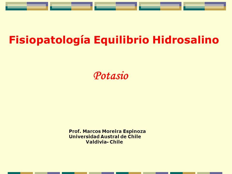 Fisiopatología Equilibrio Hidrosalino Prof. Marcos Moreira Espinoza Universidad Austral de Chile Valdivia- Chile Potasio