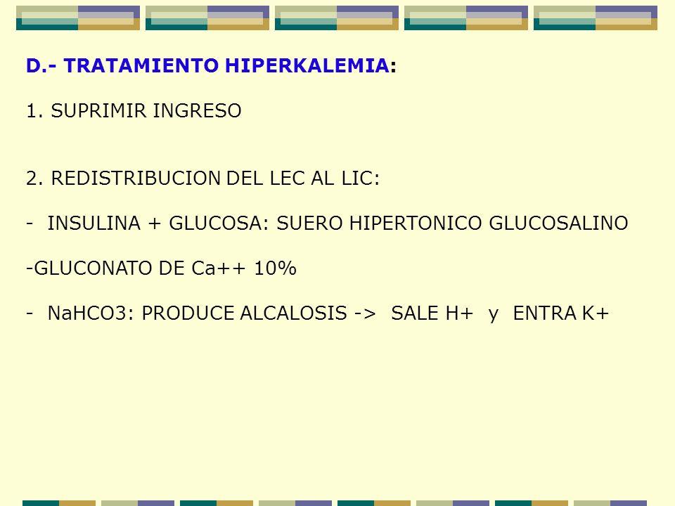 D.- TRATAMIENTO HIPERKALEMIA: 1. SUPRIMIR INGRESO 2. REDISTRIBUCION DEL LEC AL LIC: - INSULINA + GLUCOSA: SUERO HIPERTONICO GLUCOSALINO -GLUCONATO DE