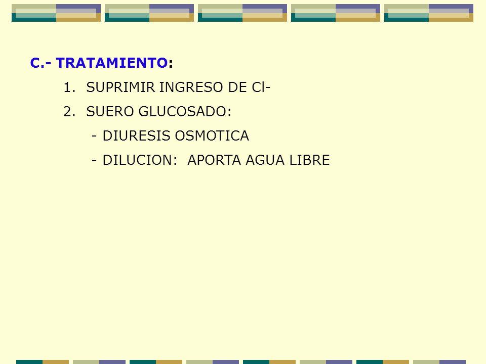C.- TRATAMIENTO: 1. SUPRIMIR INGRESO DE Cl- 2. SUERO GLUCOSADO: - DIURESIS OSMOTICA - DILUCION: APORTA AGUA LIBRE