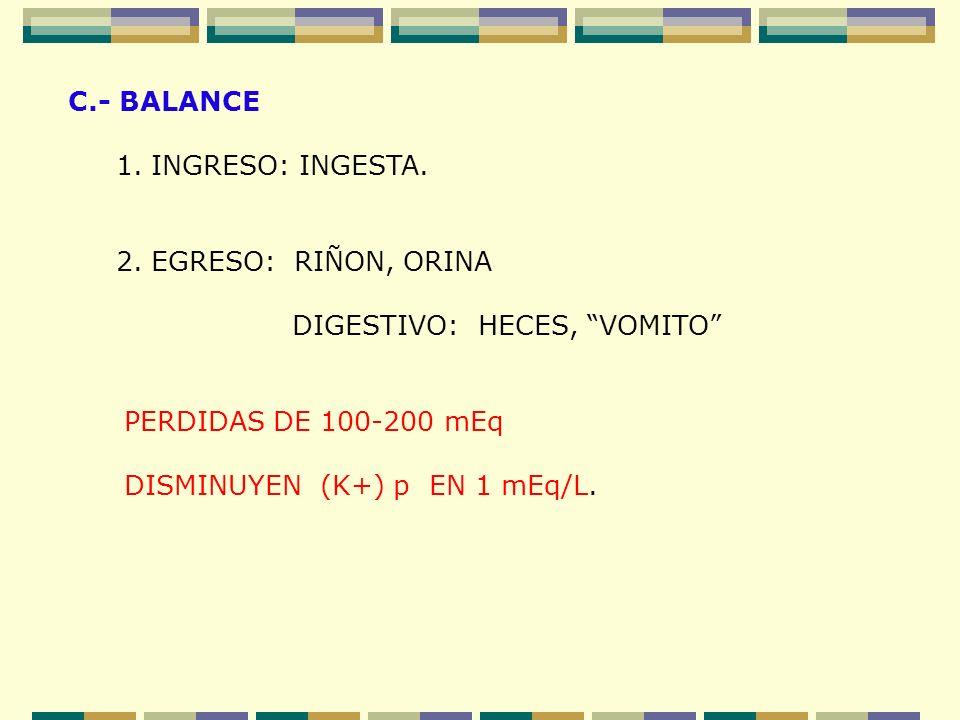 C.- BALANCE 1. INGRESO: INGESTA. 2. EGRESO: RIÑON, ORINA DIGESTIVO: HECES, VOMITO PERDIDAS DE 100-200 mEq DISMINUYEN (K+) p EN 1 mEq/L.