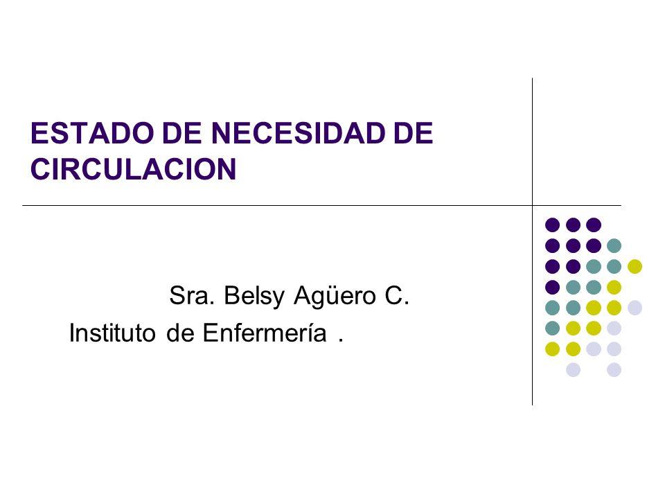 ESTADO DE NECESIDAD DE CIRCULACION Sra. Belsy Agüero C. Instituto de Enfermería.