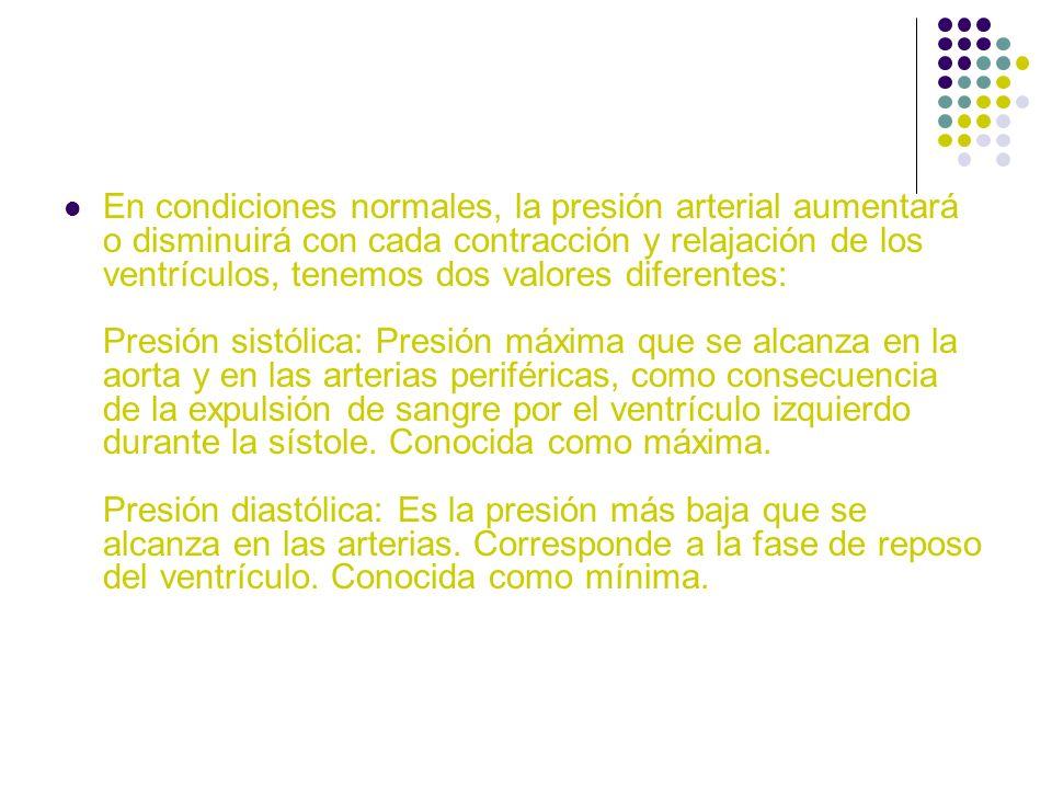En condiciones normales, la presión arterial aumentará o disminuirá con cada contracción y relajación de los ventrículos, tenemos dos valores diferent
