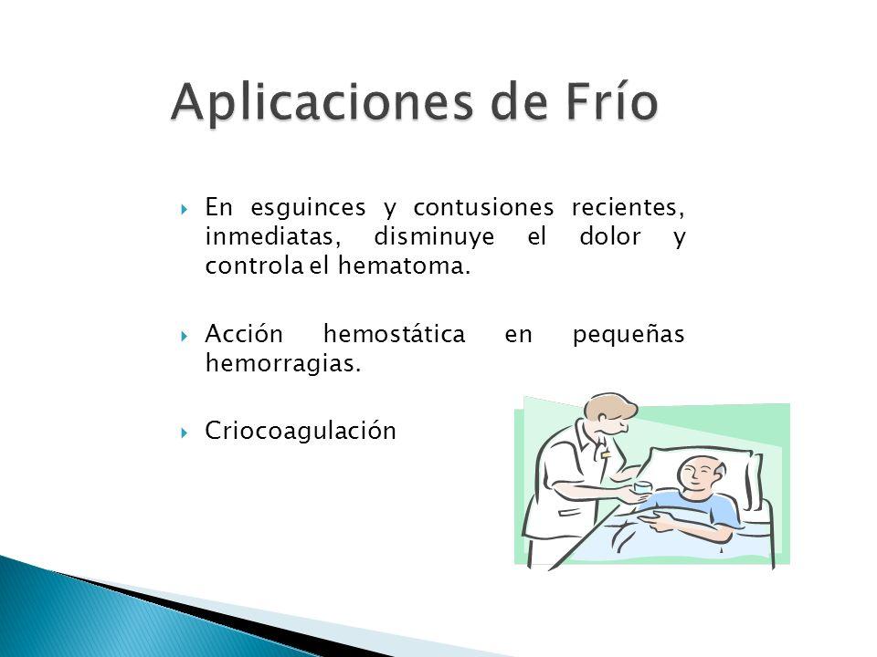 En esguinces y contusiones recientes, inmediatas, disminuye el dolor y controla el hematoma. Acción hemostática en pequeñas hemorragias. Criocoagulaci