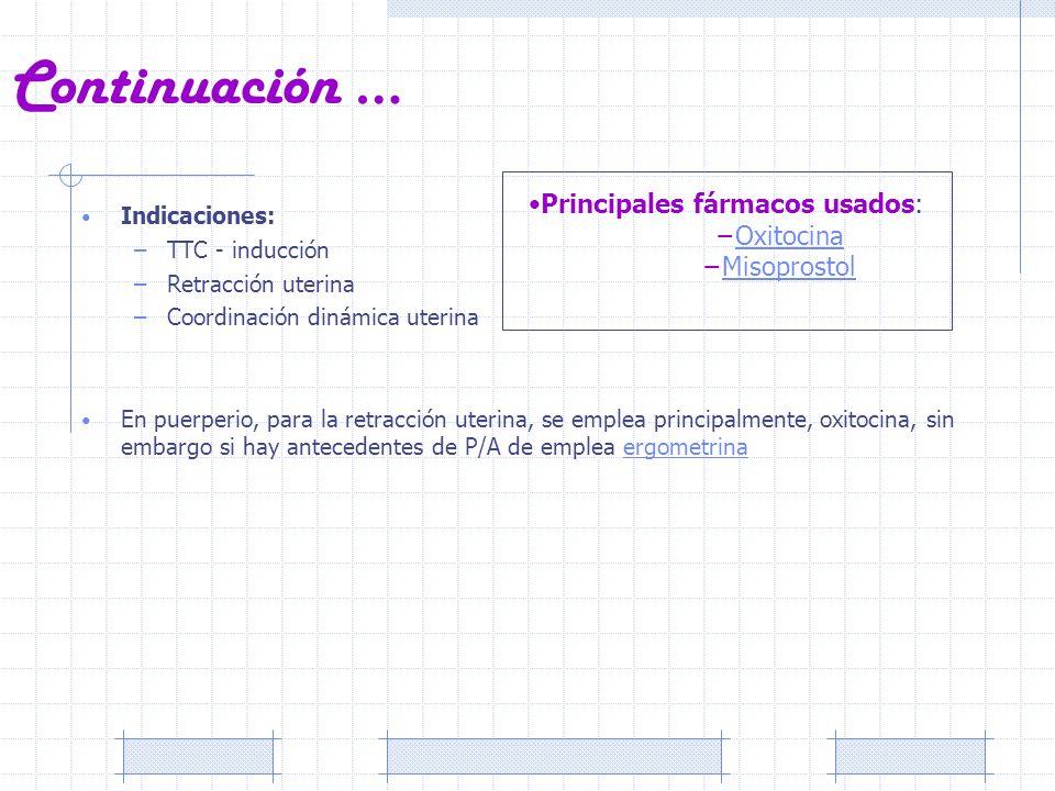 Continuación … Indicaciones: –TTC - inducción –Retracción uterina –Coordinación dinámica uterina En puerperio, para la retracción uterina, se emplea p