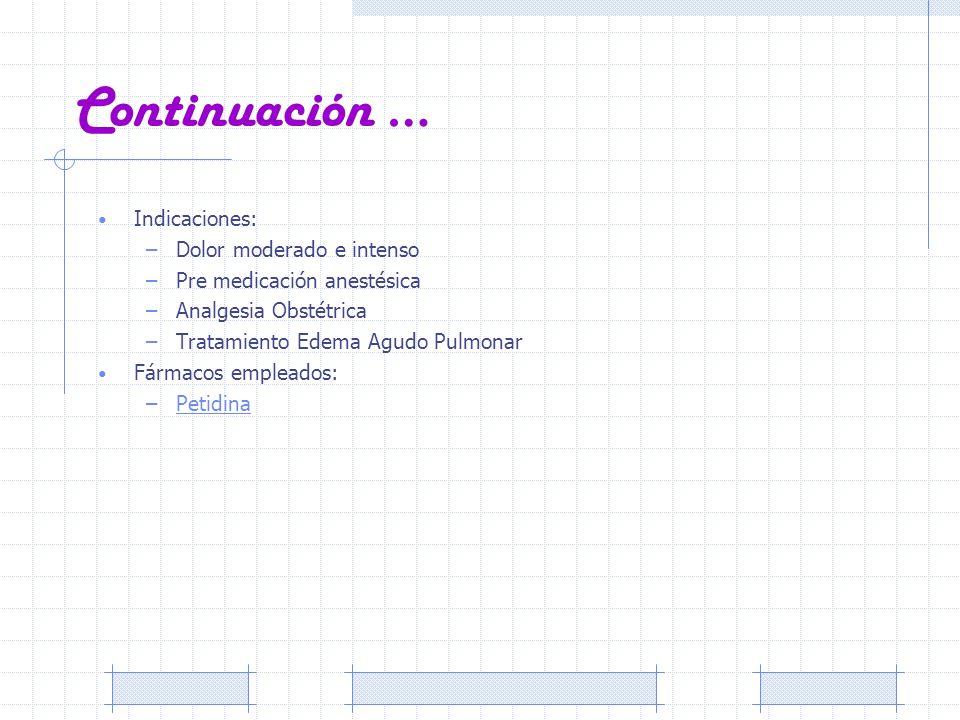 Continuación … Indicaciones: –Dolor moderado e intenso –Pre medicación anestésica –Analgesia Obstétrica –Tratamiento Edema Agudo Pulmonar Fármacos emp