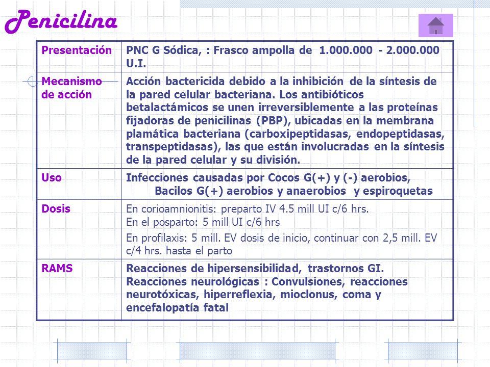 Penicilina PresentaciónPNC G Sódica, : Frasco ampolla de 1.000.000 - 2.000.000 U.I. Mecanismo de acción Acción bactericida debido a la inhibición de l