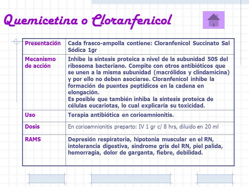 Quemicetina o Cloranfenicol PresentaciónCada frasco-ampolla contiene: Cloranfenicol Succinato Sal Sódica 1gr Mecanismo de acción Inhibe la síntesis pr