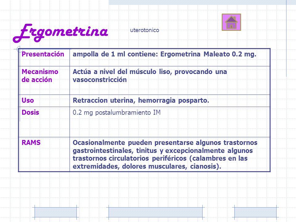 Ergometrina Presentaciónampolla de 1 ml contiene: Ergometrina Maleato 0.2 mg. Mecanismo de acción Actúa a nivel del músculo liso, provocando una vasoc