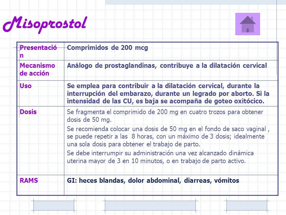 Misoprostol Presentació n Comprimidos de 200 mcg Mecanismo de acción Análogo de prostaglandinas, contribuye a la dilatación cervical UsoSe emplea para