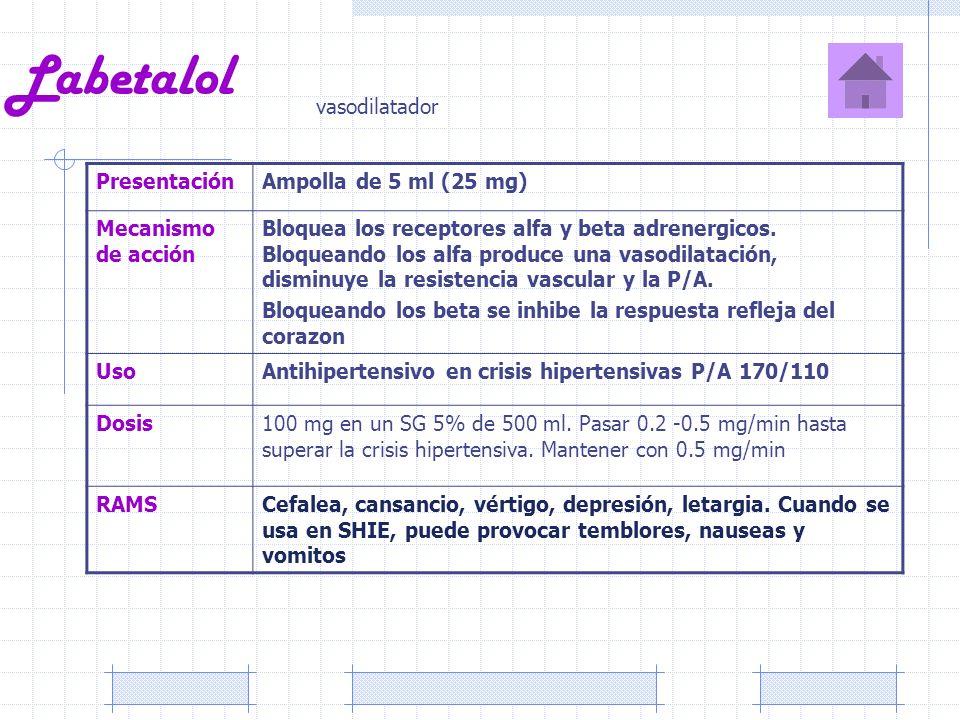 Labetalol PresentaciónAmpolla de 5 ml (25 mg) Mecanismo de acción Bloquea los receptores alfa y beta adrenergicos. Bloqueando los alfa produce una vas