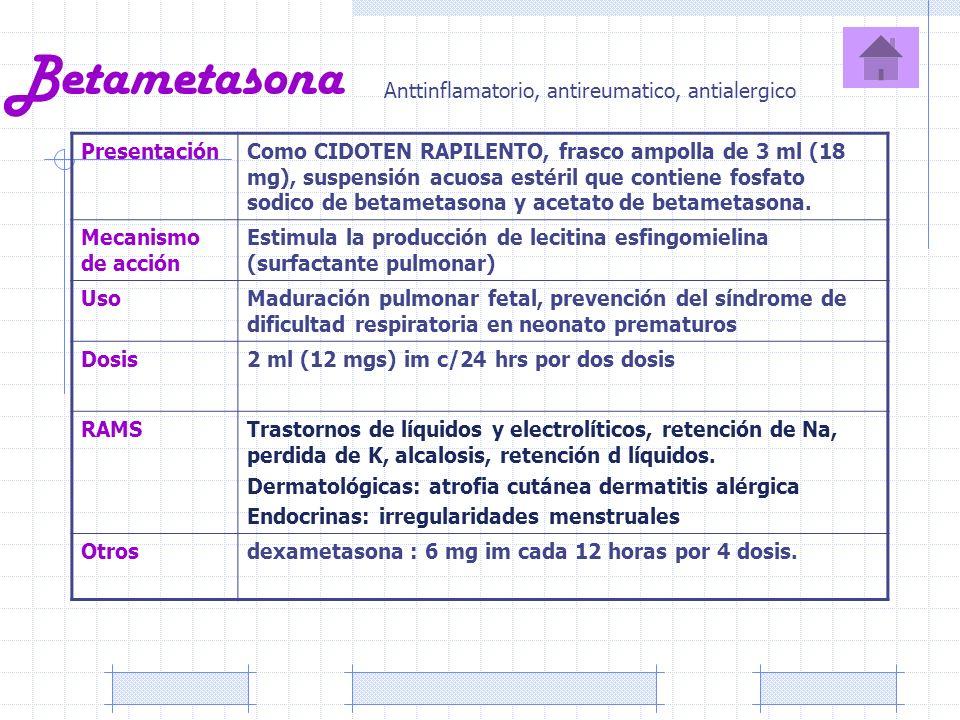 Betametasona PresentaciónComo CIDOTEN RAPILENTO, frasco ampolla de 3 ml (18 mg), suspensión acuosa estéril que contiene fosfato sodico de betametasona