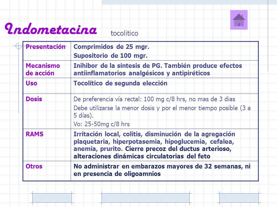 Indometacina tocolitico PresentaciónComprimidos de 25 mgr. Supositorio de 100 mgr. Mecanismo de acción Inihibor de la síntesis de PG. También produce