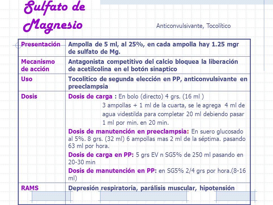 Sulfato de Magnesio PresentaciónAmpolla de 5 ml, al 25%, en cada ampolla hay 1.25 mgr de sulfato de Mg. Mecanismo de acción Antagonista competitivo de