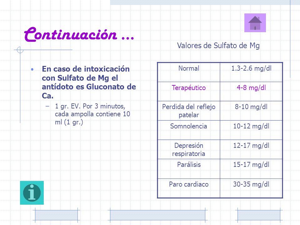 Continuación … En caso de intoxicación con Sulfato de Mg el antídoto es Gluconato de Ca. –1 gr. EV. Por 3 minutos, cada ampolla contiene 10 ml (1 gr.)