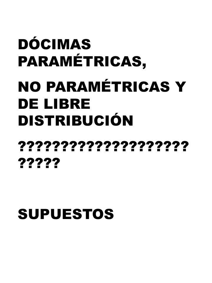 DÓCIMAS PARAMÉTRICAS, NO PARAMÉTRICAS Y DE LIBRE DISTRIBUCIÓN ???????????????????? ????? SUPUESTOS