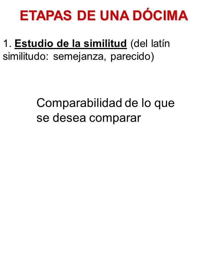 ETAPAS DE UNA DÓCIMA 1. Estudio de la similitud (del latín similitudo: semejanza, parecido) Comparabilidad de lo que se desea comparar