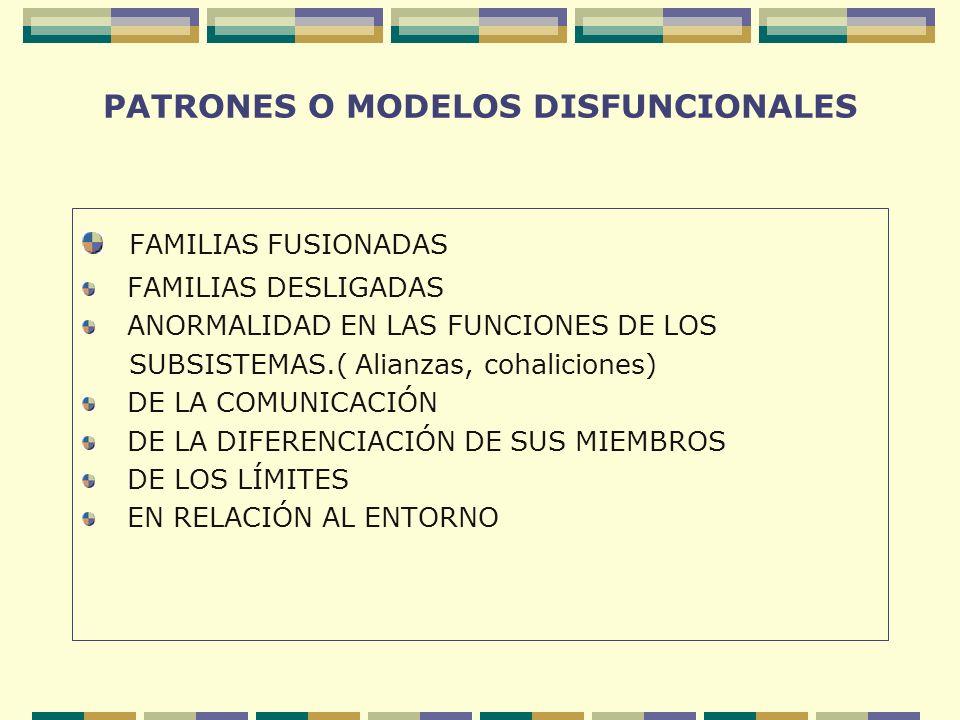 PATRONES O MODELOS DISFUNCIONALES FAMILIAS FUSIONADAS FAMILIAS DESLIGADAS ANORMALIDAD EN LAS FUNCIONES DE LOS SUBSISTEMAS.( Alianzas, cohaliciones) DE