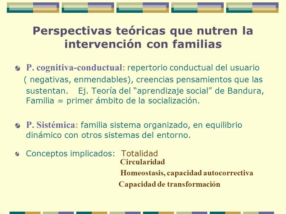 Perspectivas teóricas que nutren la intervención con familias P. cognitiva-conductual: repertorio conductual del usuario ( negativas, enmendables), cr