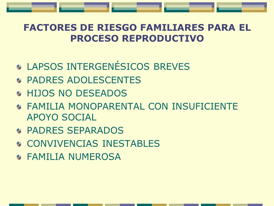 FACTORES DE RIESGO FAMILIARES PARA EL PROCESO REPRODUCTIVO LAPSOS INTERGENÉSICOS BREVES PADRES ADOLESCENTES HIJOS NO DESEADOS FAMILIA MONOPARENTAL CON