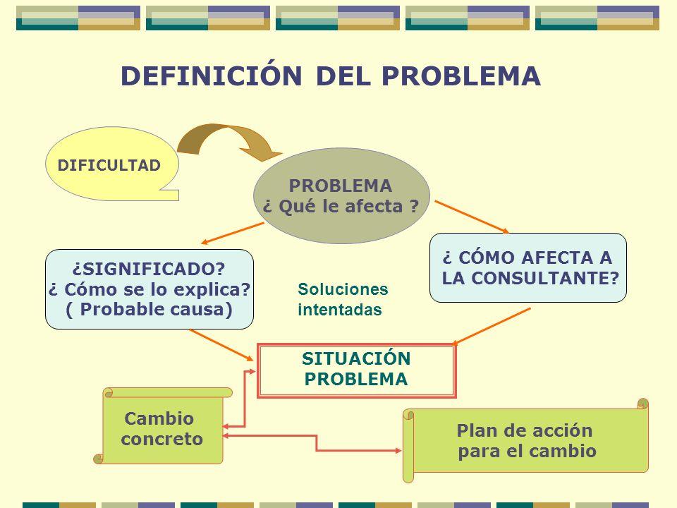 DEFINICIÓN DEL PROBLEMA DIFICULTAD PROBLEMA ¿ Qué le afecta ? ¿SIGNIFICADO? ¿ Cómo se lo explica? ( Probable causa) ¿ CÓMO AFECTA A LA CONSULTANTE? SI