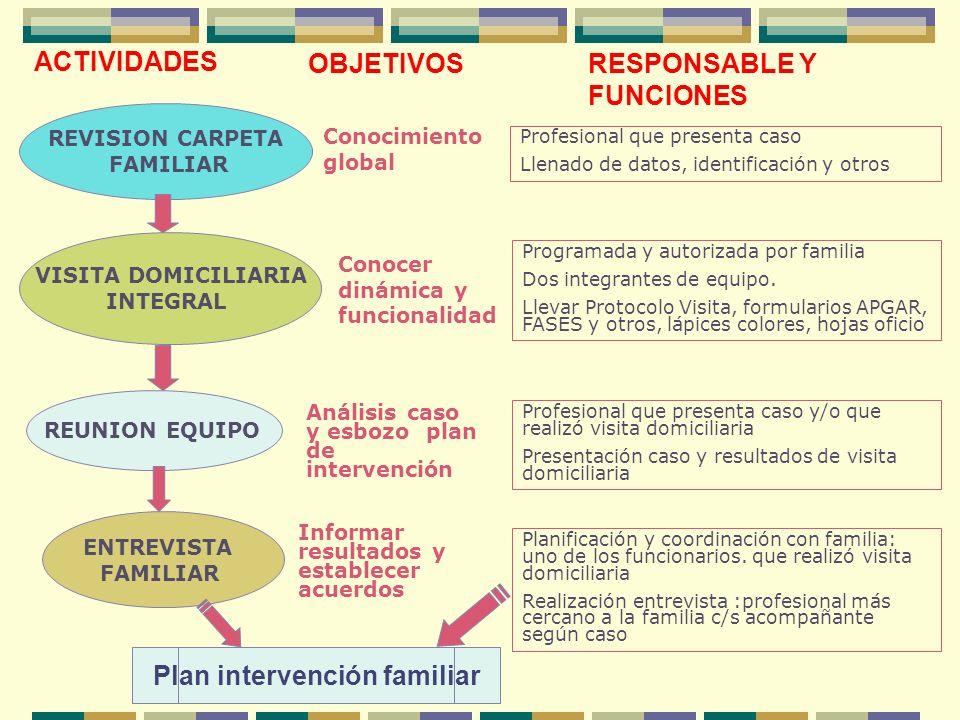 REVISION CARPETA FAMILIAR Profesional que presenta caso Llenado de datos, identificación y otros VISITA DOMICILIARIA INTEGRAL Programada y autorizada