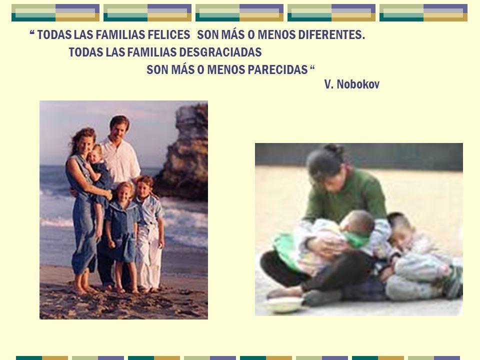 TODAS LAS FAMILIAS FELICES SON MÁS O MENOS DIFERENTES. TODAS LAS FAMILIAS DESGRACIADAS SON MÁS O MENOS PARECIDAS V. Nobokov