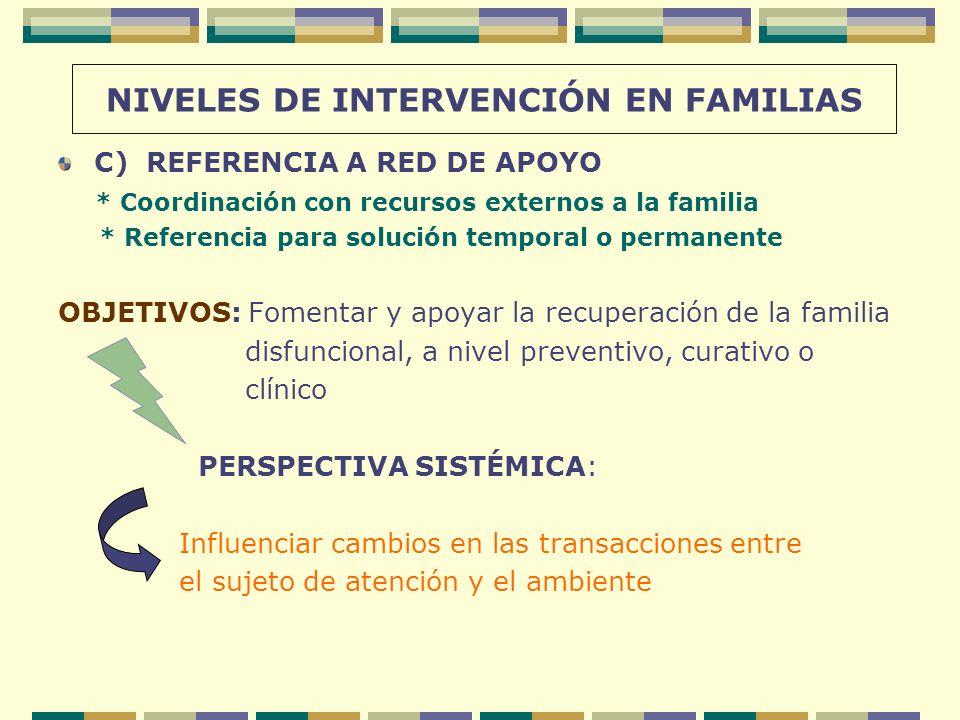 NIVELES DE INTERVENCIÓN EN FAMILIAS C) REFERENCIA A RED DE APOYO * Coordinación con recursos externos a la familia * Referencia para solución temporal