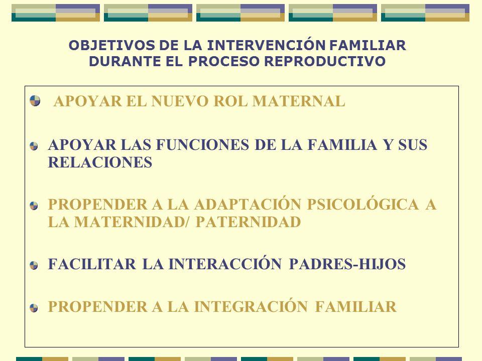 OBJETIVOS DE LA INTERVENCIÓN FAMILIAR DURANTE EL PROCESO REPRODUCTIVO APOYAR EL NUEVO ROL MATERNAL APOYAR LAS FUNCIONES DE LA FAMILIA Y SUS RELACIONES