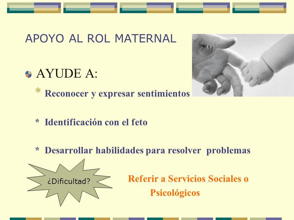 APOYO AL ROL MATERNAL AYUDE A: * Reconocer y expresar sentimientos * Identificación con el feto * Desarrollar habilidades para resolver problemas Refe
