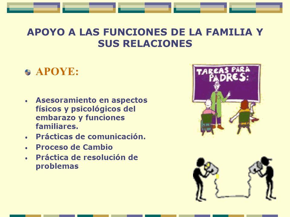 APOYO A LAS FUNCIONES DE LA FAMILIA Y SUS RELACIONES APOYE: Asesoramiento en aspectos físicos y psicológicos del embarazo y funciones familiares. Prác