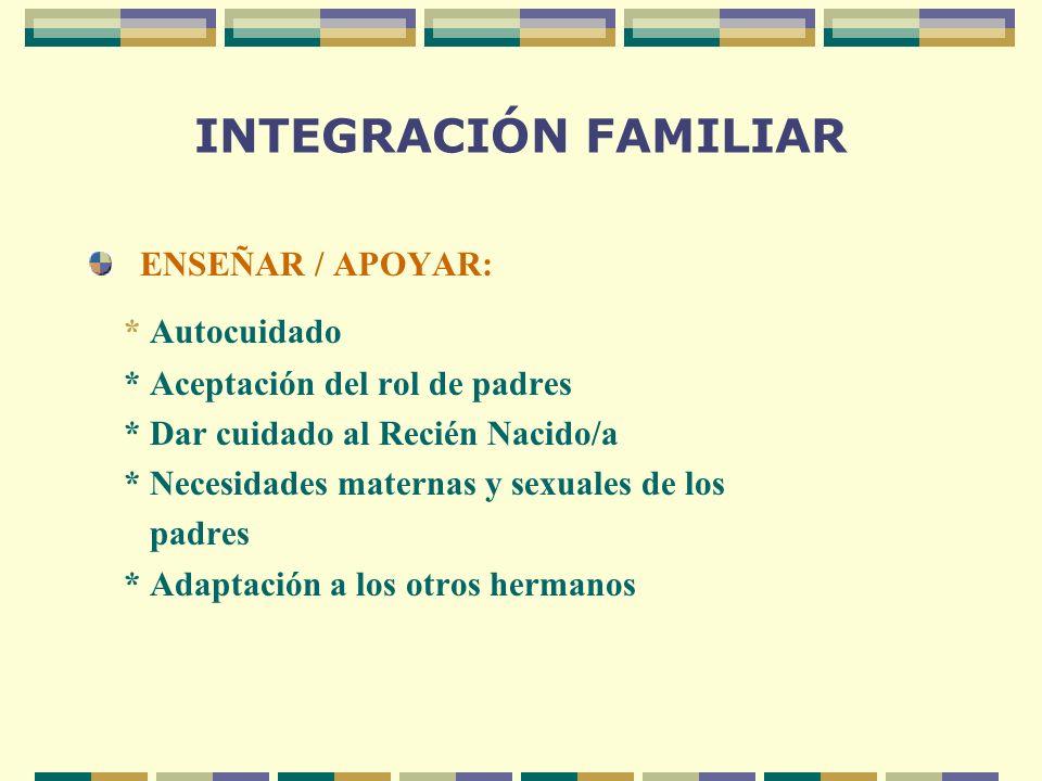 INTEGRACIÓN FAMILIAR ENSEÑAR / APOYAR: * Autocuidado * Aceptación del rol de padres * Dar cuidado al Recién Nacido/a * Necesidades maternas y sexuales