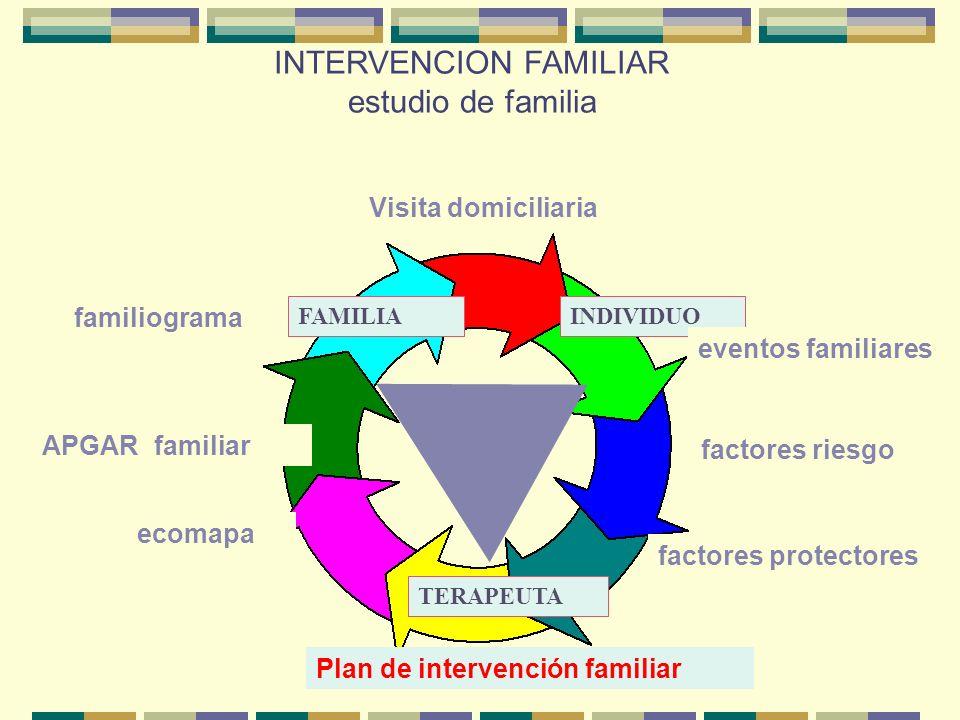 INTERVENCION FAMILIAR estudio de familia FAMILIAINDIVIDUO TERAPEUTA familiograma APGAR familiar ecomapa Plan de intervención familiar factores riesgo