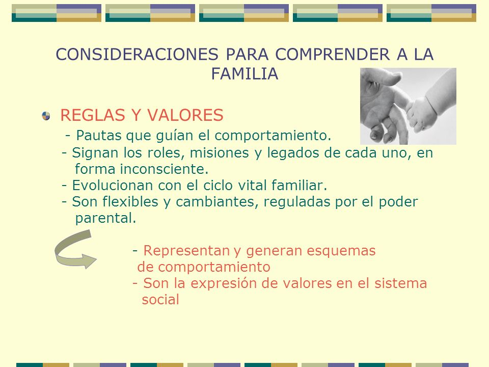 CONSIDERACIONES PARA COMPRENDER A LA FAMILIA REGLAS Y VALORES - Pautas que guían el comportamiento. - Signan los roles, misiones y legados de cada uno