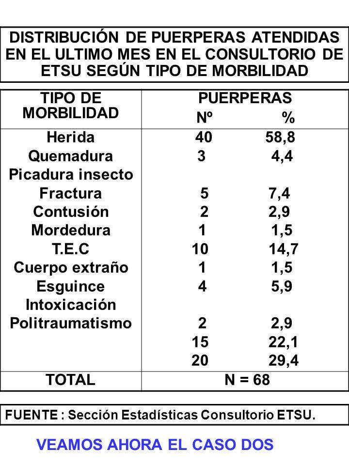 TIPO DE MORBILIDAD PUERPERAS Nº % Herida Quemadura Picadura insecto Fractura Contusión Mordedura T.E.C Cuerpo extraño Esguince Intoxicación Politrauma