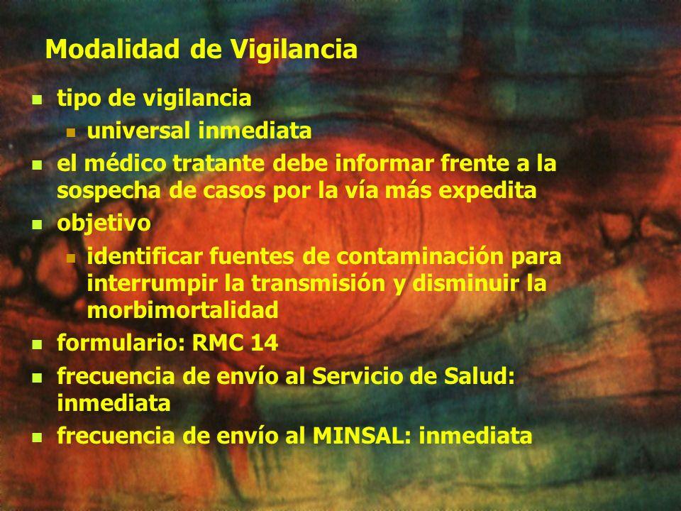 Definición de caso MINSAL (Normativa 2000) caso sospechoso fiebre, edema palpebral e inyección conjuntival, mialgias y acentuada eosinofilia en un pac