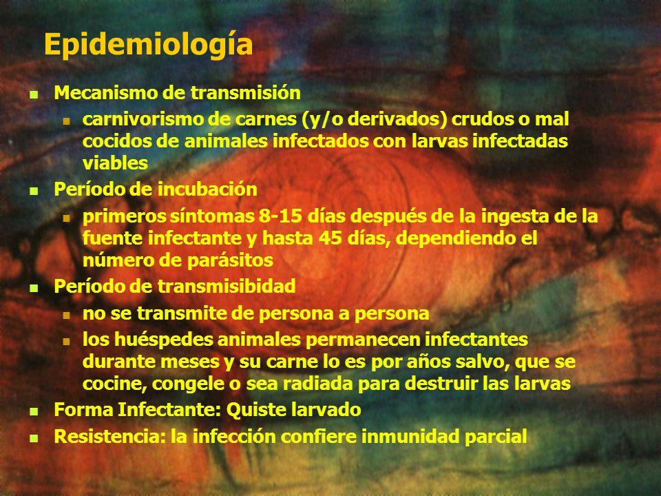 Epidemiología Distribución: mundial Factores asociados hábitos, costumbres culinarias; saneamiento (crianza de cerdos); vigilancia epidemiológica diag
