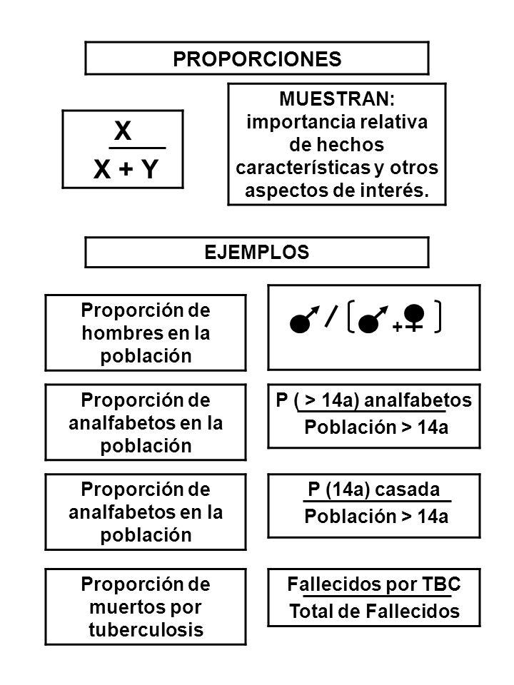 PROPORCIONES X X + Y MUESTRAN: importancia relativa de hechos características y otros aspectos de interés. EJEMPLOS Proporción de hombres en la poblac